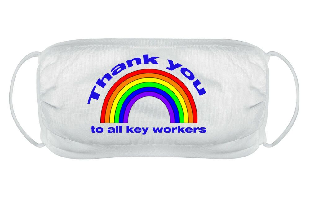 Thank you to all keyworkers face mask cover reusable washable comfy fit