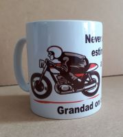 Never underestimate a grandad dad uncle motorcycle ceramic mug 10oz