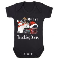 Z -My 1st First Trucking Truck Lorry Xmas Christmas black romper baby suit