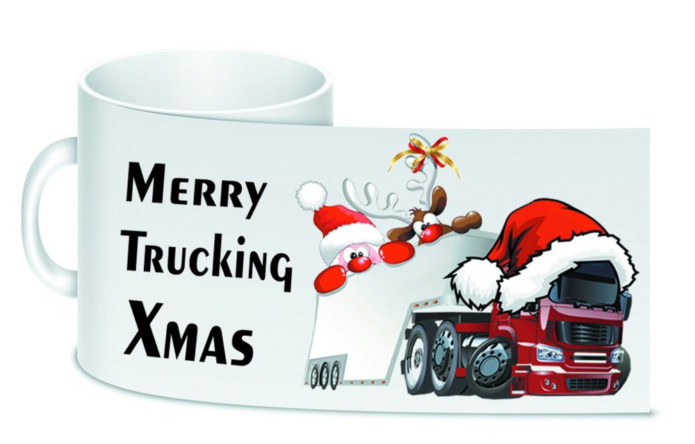 Merry Trucking Xmas trucker lorry driver christmas ceramic 10oz white mug b