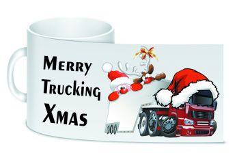 Merry Trucking Xmas trucker lorry driver christmas ceramic 10oz white mug box