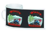 Winter Wonderland Motorcycle bikers christmas ceramic 10oz white mug box