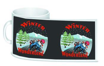 Winter Wonderland Motorcycle bikers christmas ceramic 10oz white mug box