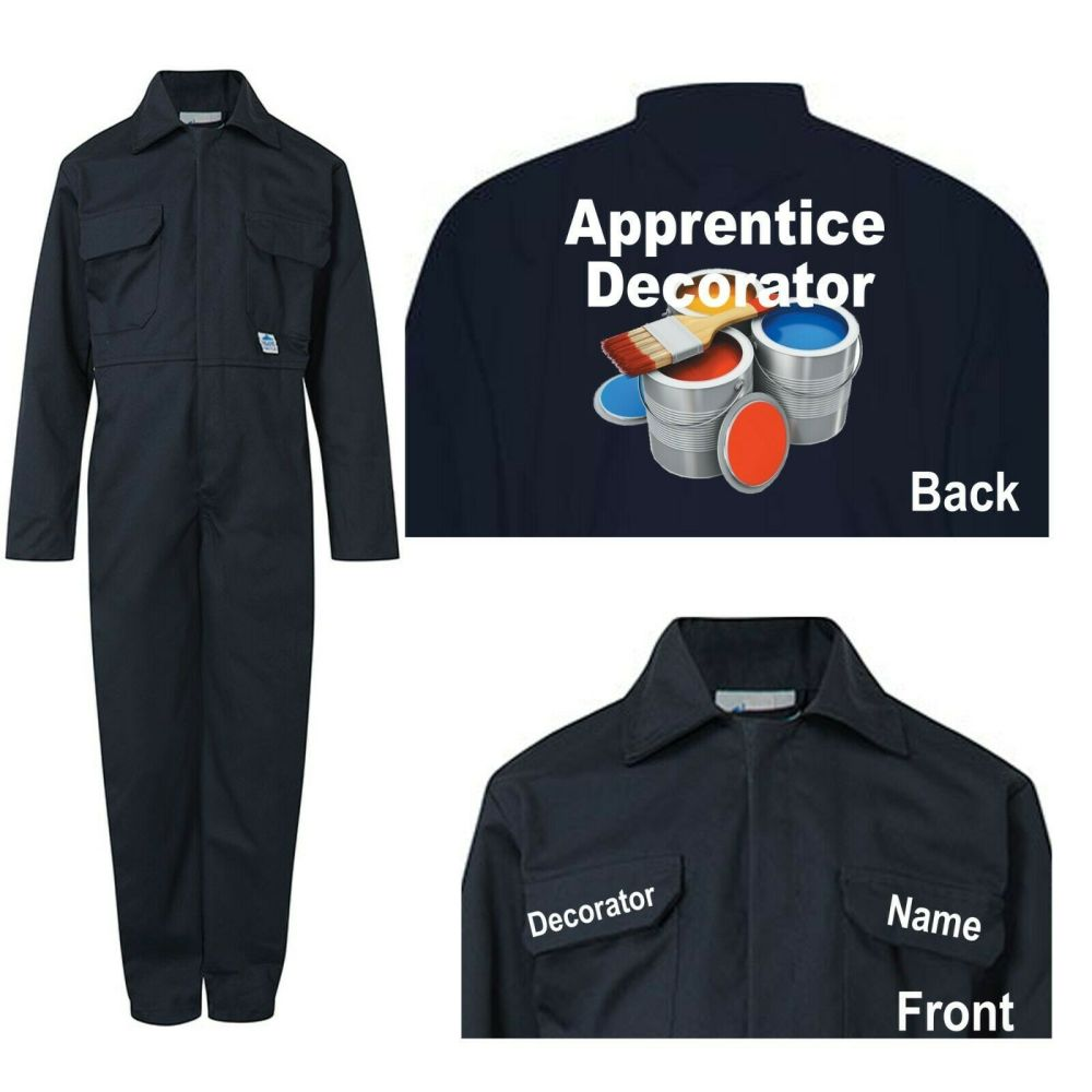 Kids children blue boiler suit overalls coveralls customise apprentice deco