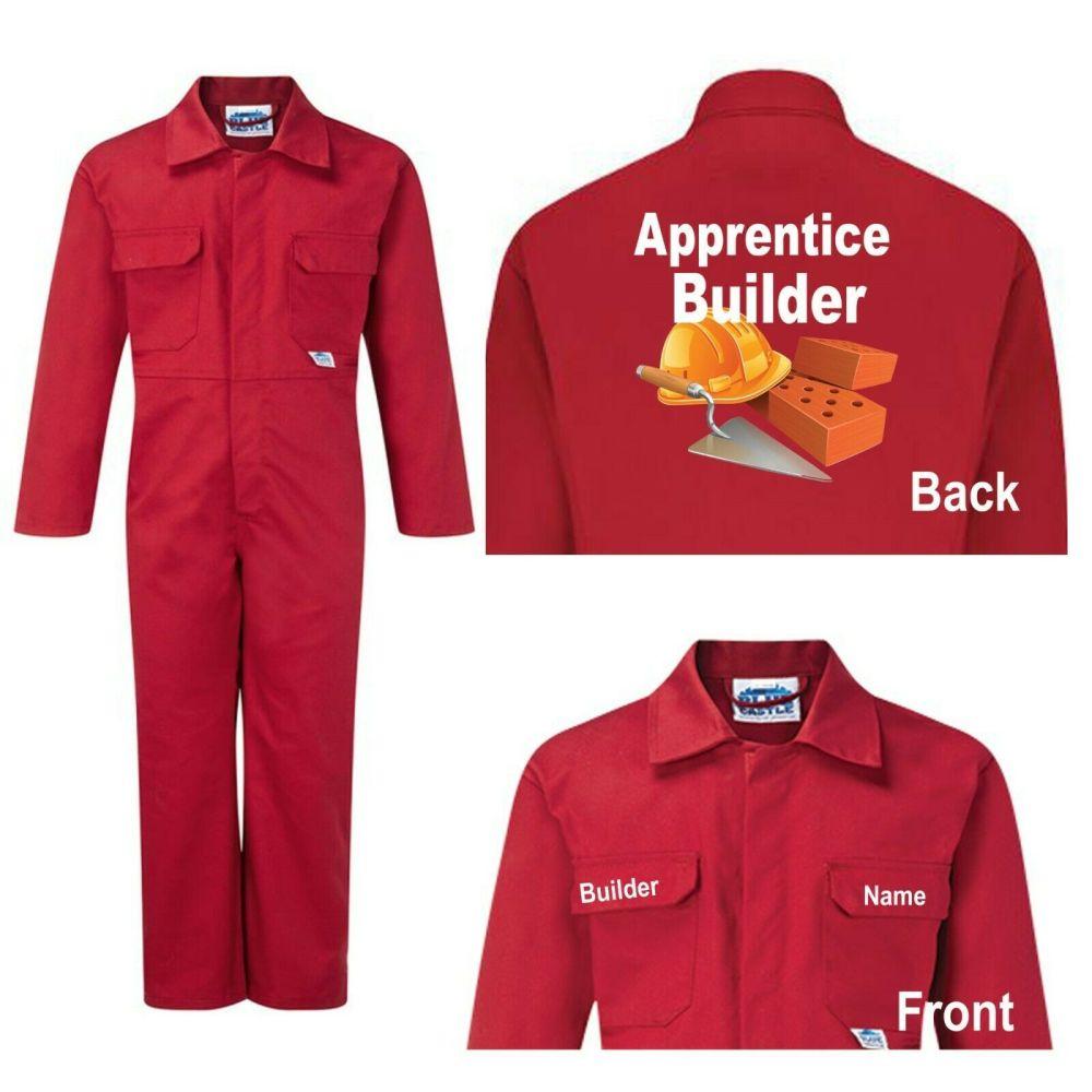 Kids children red boiler suit overalls coveralls customise apprentice build