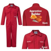 Kids children red boiler suit overalls coveralls customise apprentice builder