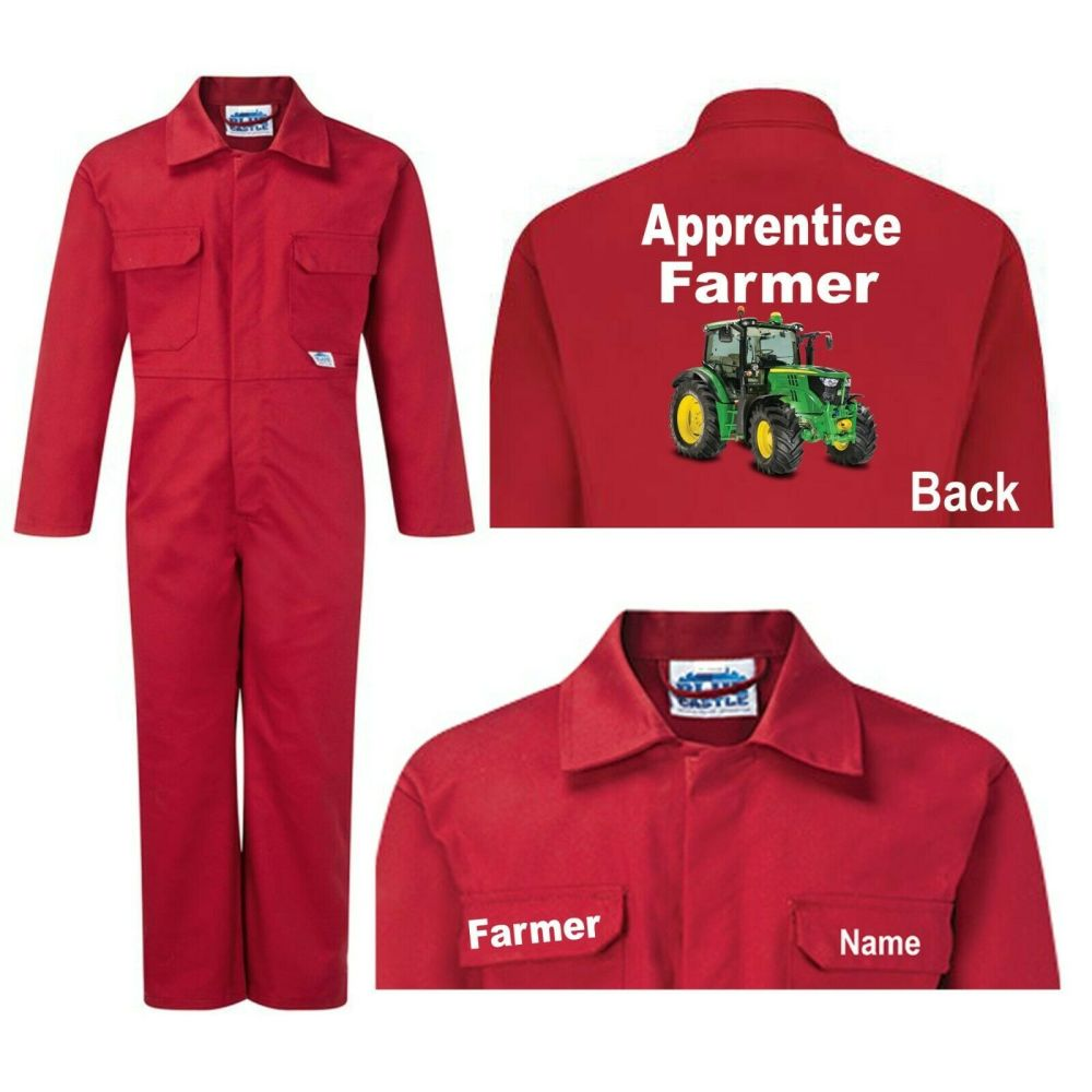 Kids children red boiler suit overalls coveralls customise apprentice farme