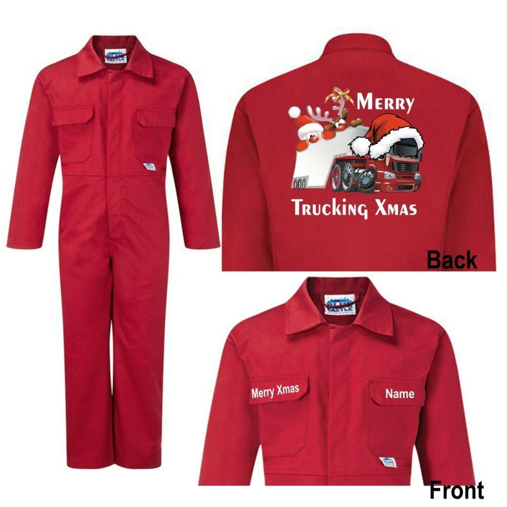 Merry Trucking Xmas Christmas Kids children red boiler suit overalls custom