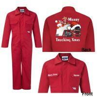 Merry Trucking Xmas Christmas Kids children red blue boiler suit overalls customise