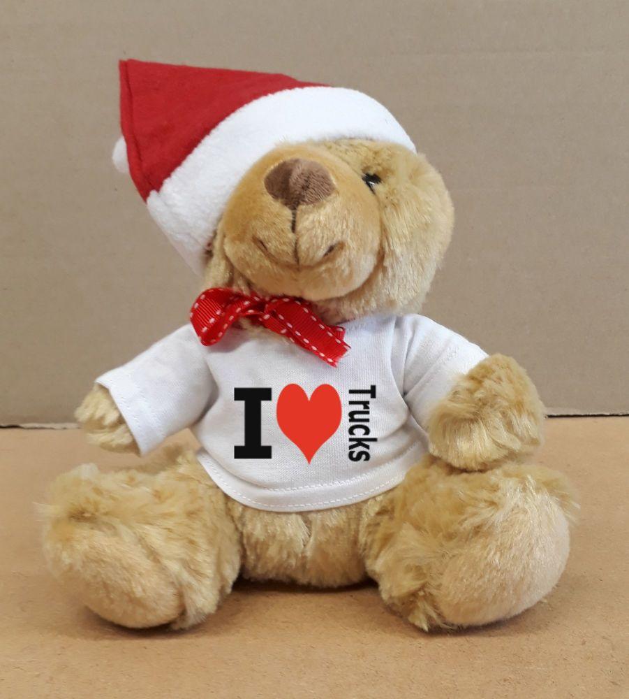 2 - Christmas Teddy Bear I Love Trucks with a Santa Hat