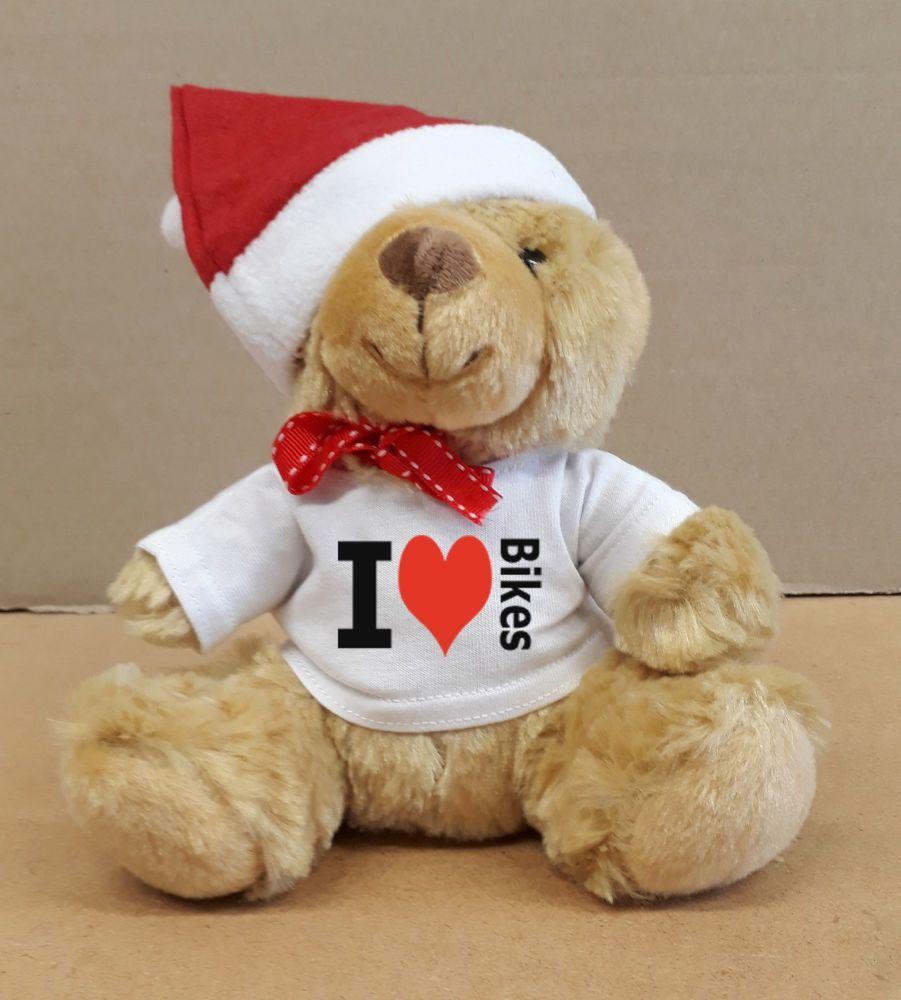 2 - Christmas Teddy Bear I Love Bikes with a Santa Hat