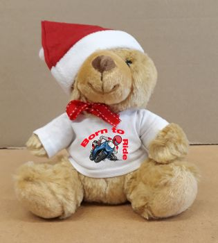 2 - Christmas Teddy Bear Born to Ride Motorcycle with a Santa Hat
