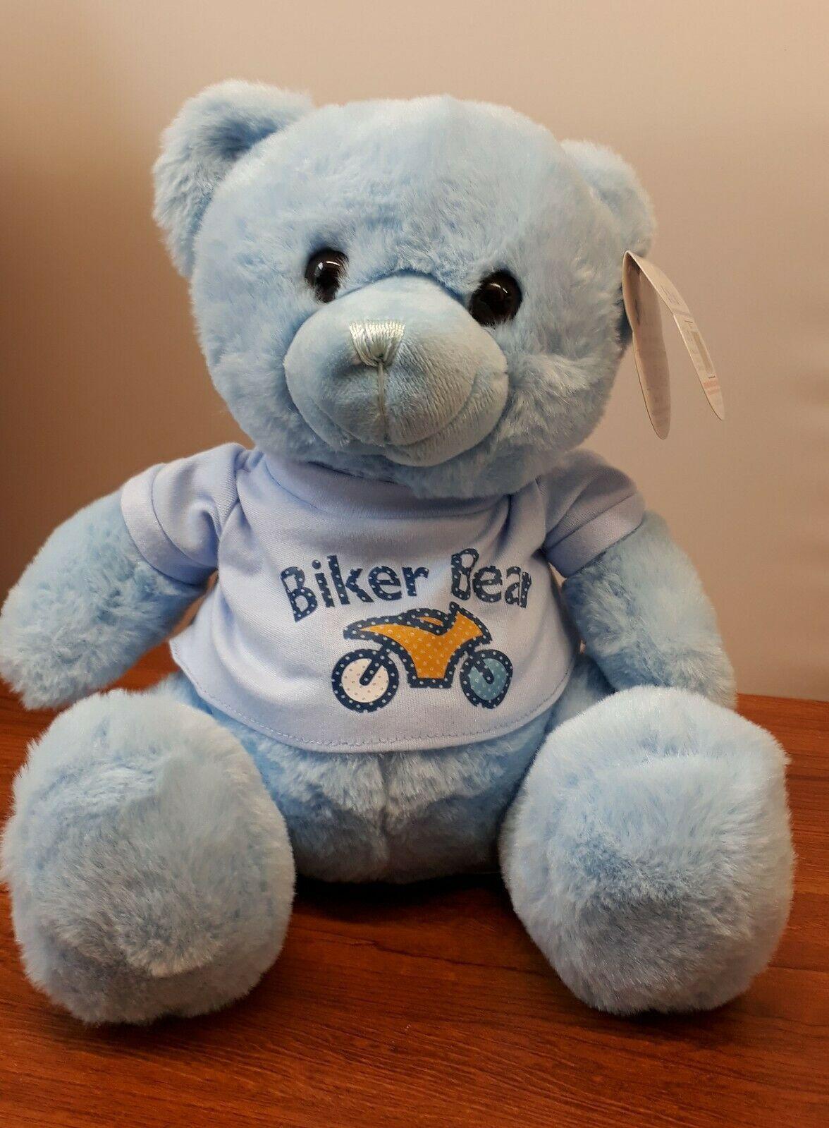 Teddy bear blue super soft toy 25cm high with biker motorcycle t-shirt tshi