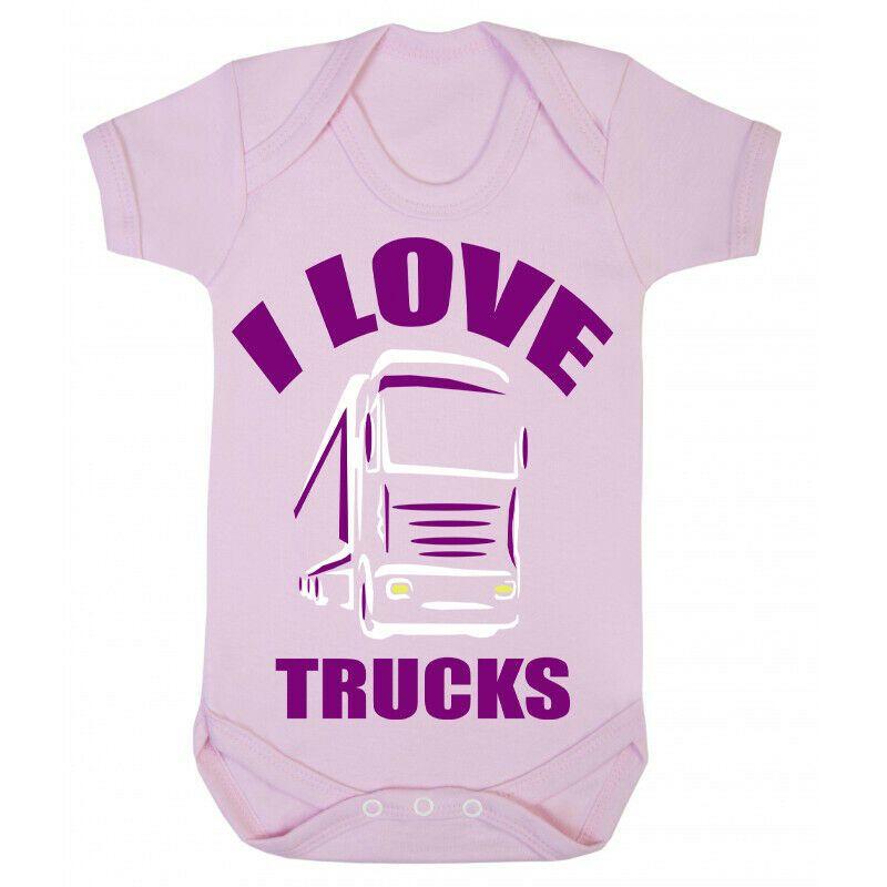 Z -I Love Trucks pink romper suit kids girl trucker Lorry HGV Volvo Scania