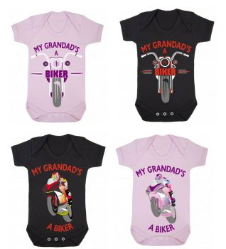 A- My Grandad's A Biker black pink romper suit kids boy girl