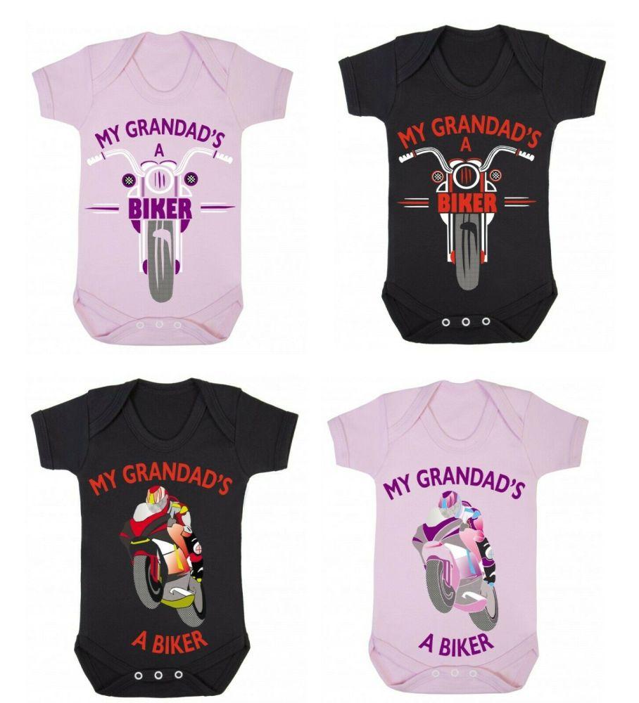 A- My Grandad's A Biker black pink romper suit kids boy girl