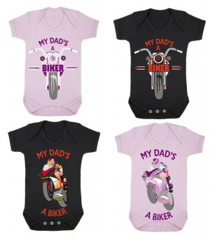 A- My Dad's A Biker black pink romper suit kids boy girl