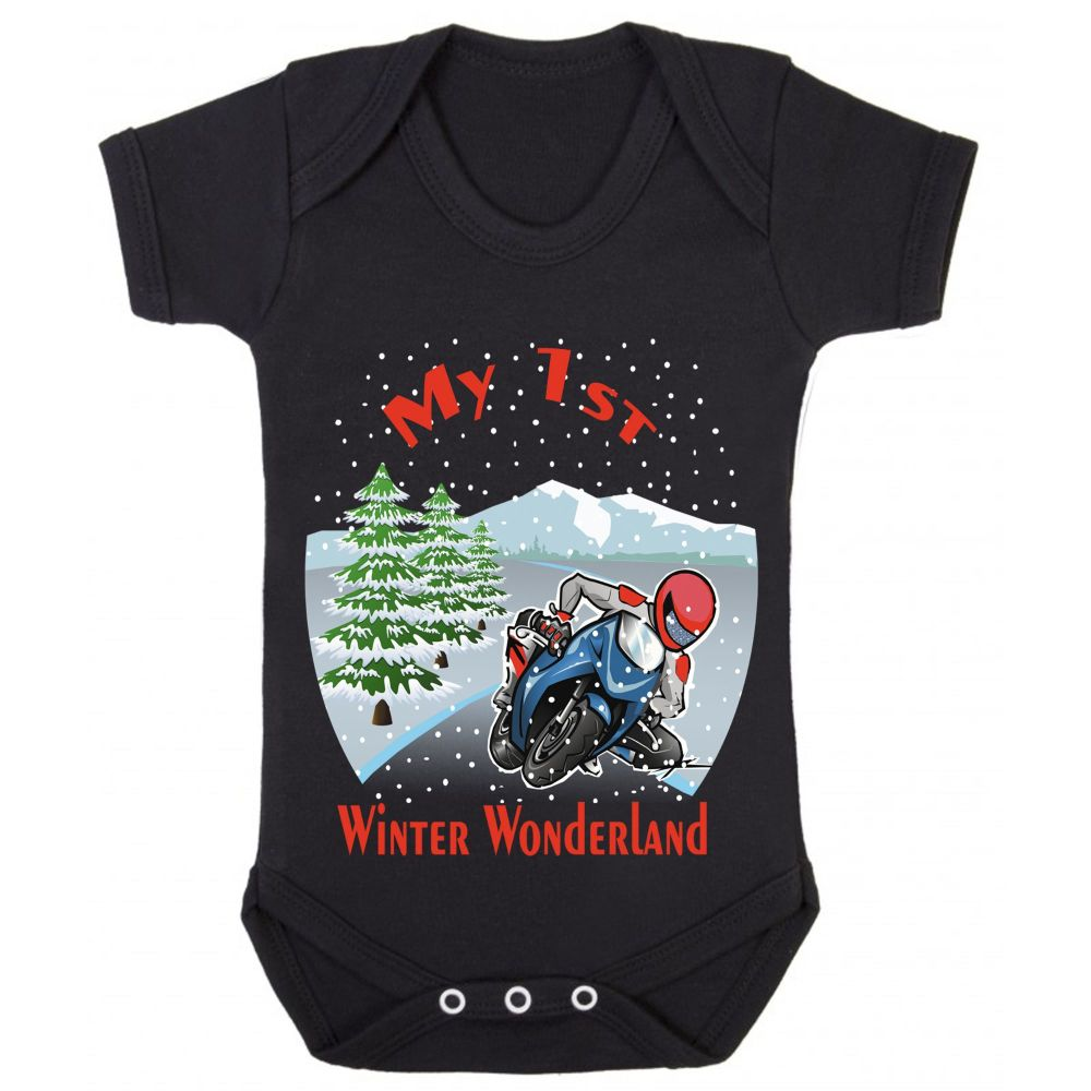 A- My 1st First Winter Wonderland Christmas black motorcycle romper baby su