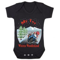 A- My 1st First Winter Wonderland Christmas black motorcycle romper baby suit