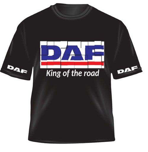z - DAF truck lorry king of the road black kids children tshirt tee