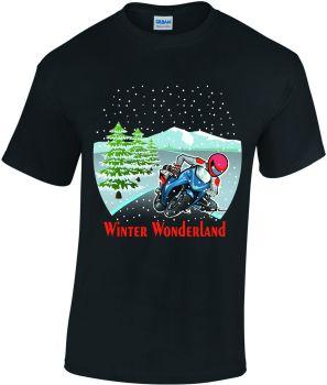 U - Motorcycle Biker Christmas Winter Wonderland fun black tee tshirt