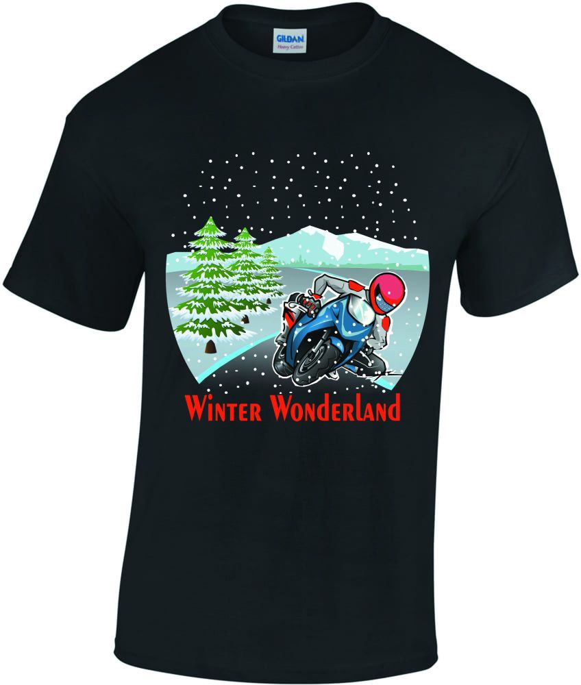 U - Motorcycle Biker Christmas Winter Wonderland fun black tee tshirt