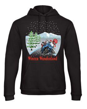 Motorcycle Biker Christmas Winter Wonderland fun black hoodie