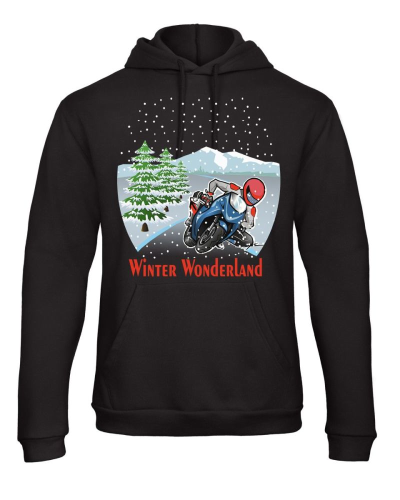 Motorcycle Biker Christmas Winter Wonderland fun black hoodie