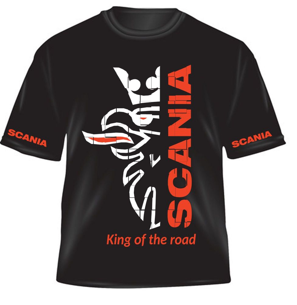 z - Scania truck lorry king of the road black kids children tshirt tee