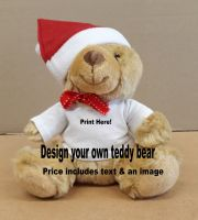 Personalise customise Christmas teddy bear brown 17cm