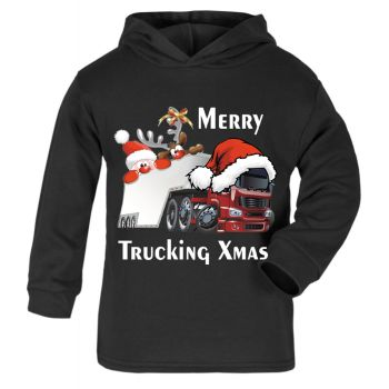 Z -Merry Trucking Xmas christmas santa truck lorry fun kids children black hoodie