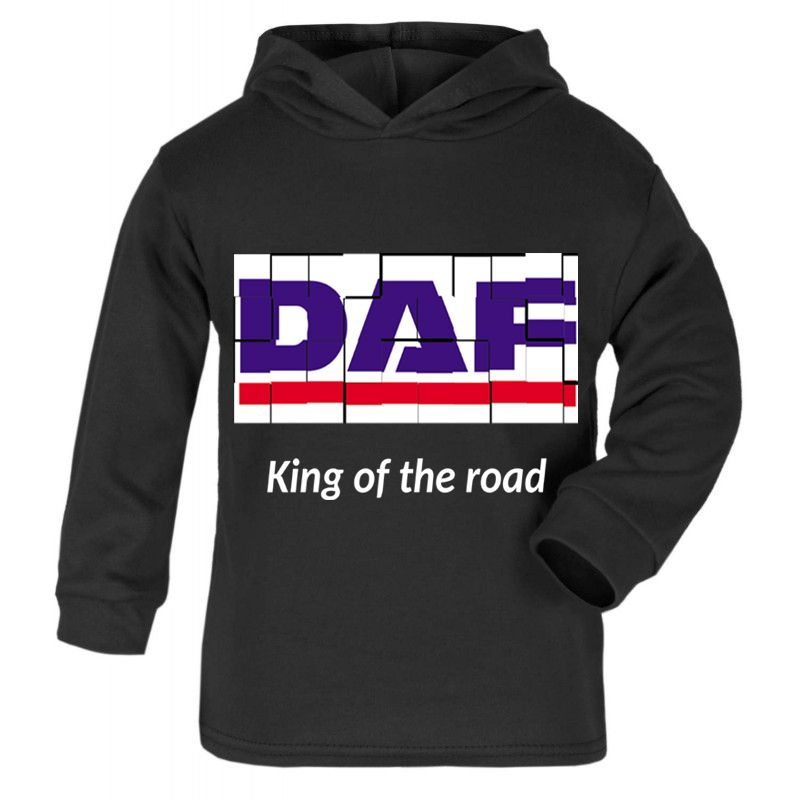 Z -DAF retro truck lorry king of the road black kids children hoodie sweat