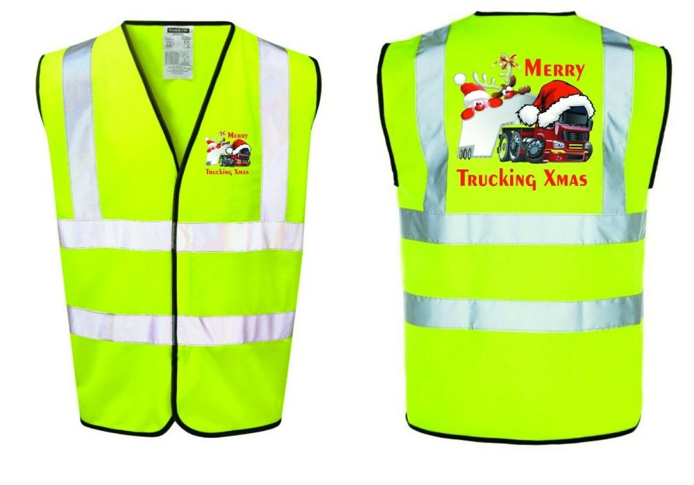 Merry Trucking Xmas Christmas hi viz safety yellow vest truck haulage couri