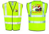 Merry Trucking Xmas Christmas hi viz safety yellow vest truck haulage courier