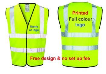 Personalise high viz visibility safety yellow orange vest truck haulage courier