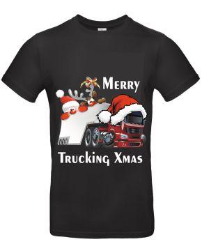 W - Merry Trucking Xmas Christmas Santa truck black tee t-shirt
