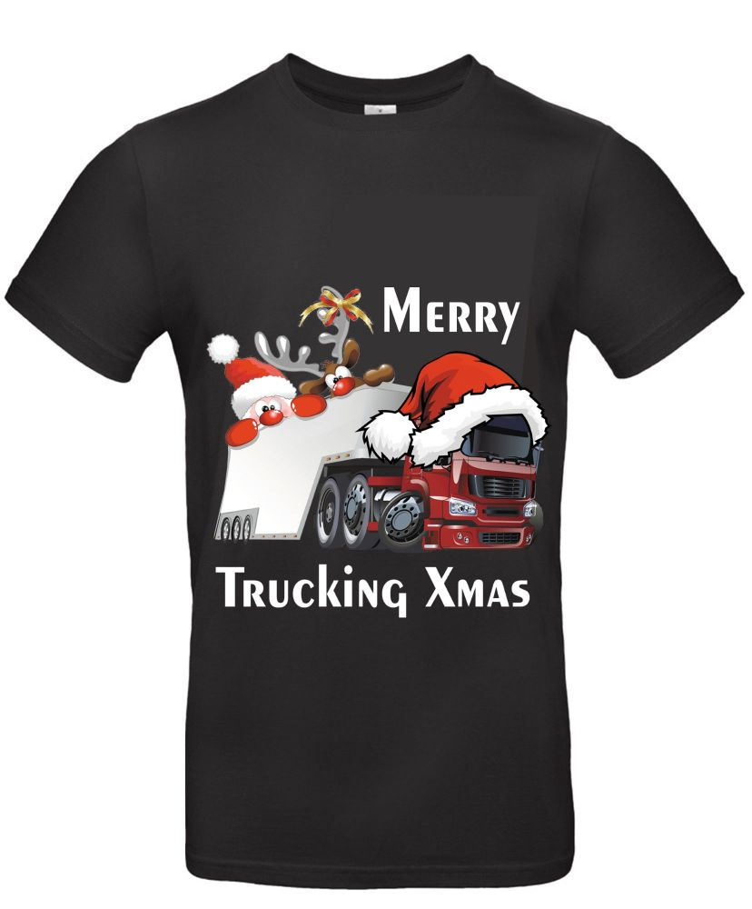 W - Merry Trucking Xmas christmas santa truck fun kids children black tee t