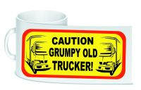 Caution grumpy old trucker white trucker lorry driver ceramic mug 10oz