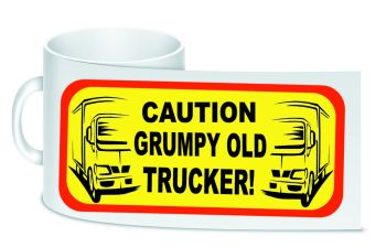 Caution grumpy old trucker white trucker lorry driver ceramic mug 10oz