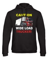 W - Caution wide load trucker truck lorry driver black hoodie with pouch