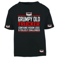 W - Grinfactor Grumpy Old Trucker Contains Vision Loss & follicly challenged black tshirt tee