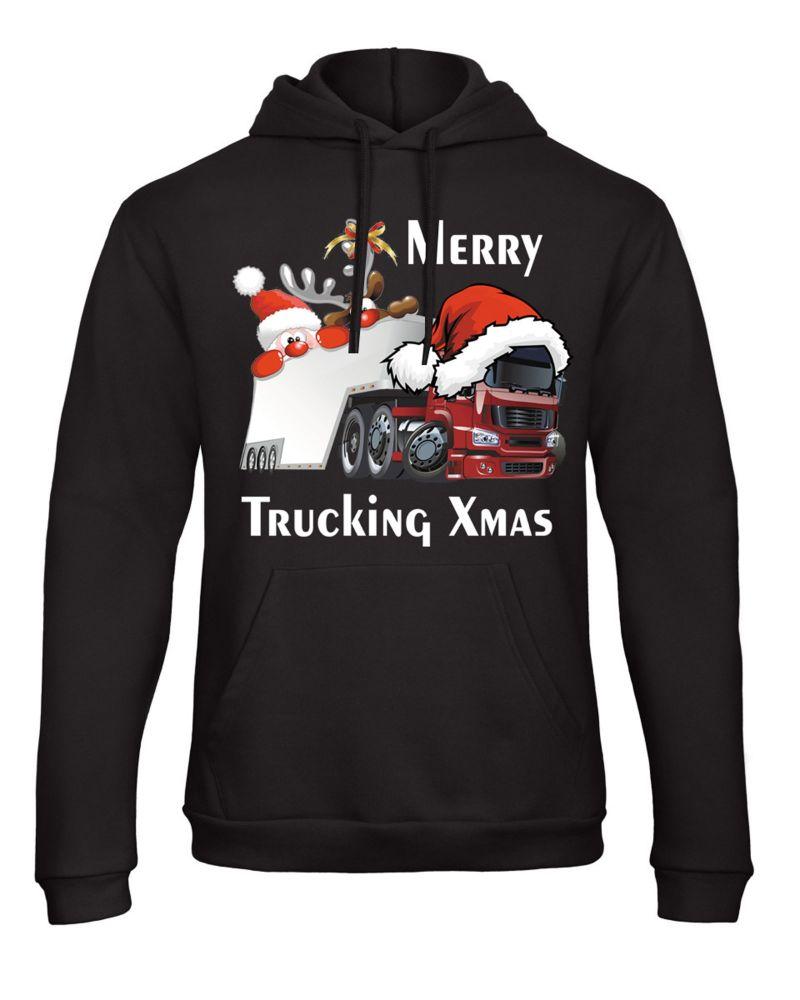 W - Merry Trucking Xmas Christmas fun trucker lorry t-shirt hoodie black