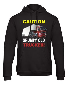 W - Caution Grumpy old trucker truck lorry driver black hoodie with pouch