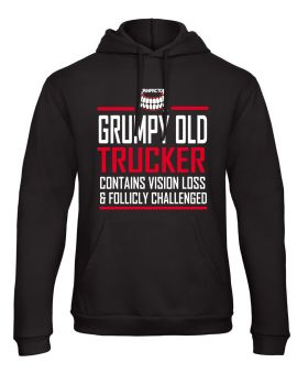 W - Grinfactor Grumpy Old Trucker Contains Vision Loss follicly challenged black hoodie