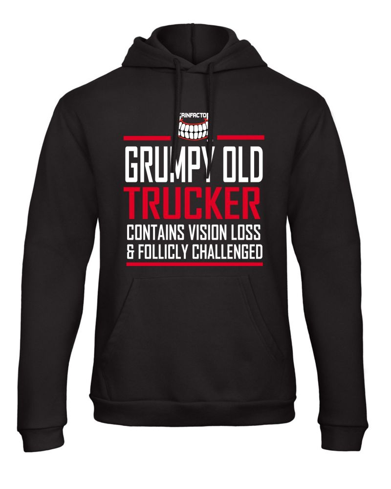 W - Grumpy Old Trucker Contains Vision Loss follicly challenged black hoodi