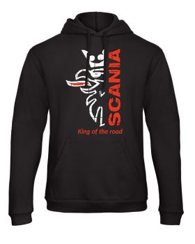 W - Scania retro truck lorry king of the road black hoodie sweat kangroo pouch