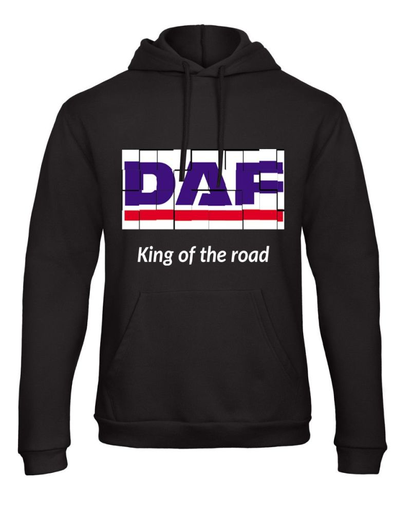 W - DAF retro truck lorry king of the road black hoodie sweat kangroo pouch