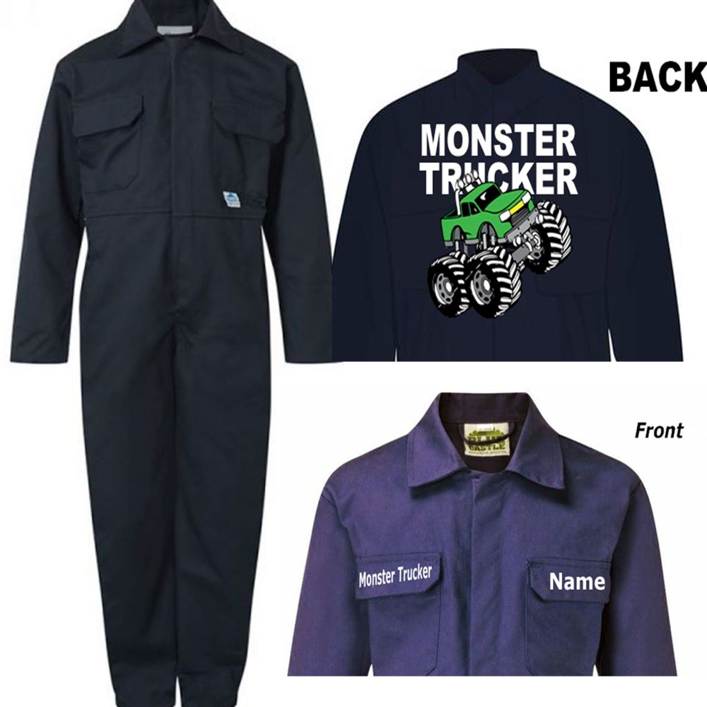 A - Kids children boiler suit overalls coveralls customise monster truck tr