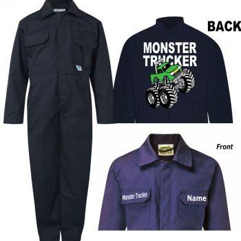 A - Kids children boiler suit overalls coveralls customise monster truck trucker