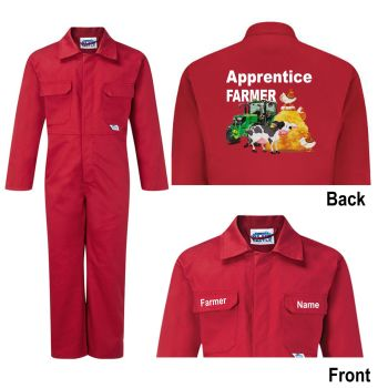 Kids children boiler suit overalls coveralls customise apprentice farmer animals